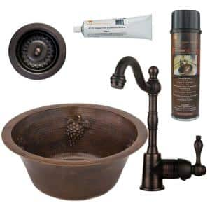 Bronze 16 Gauge Copper 16 in. Dual Mount Round Grapes Bar Sink with Faucet and Strainer Drain