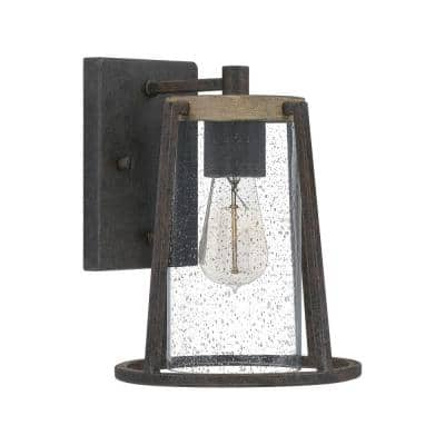 Brockton 1-Light Rustic Black Outdoor Wall Lantern Sconce