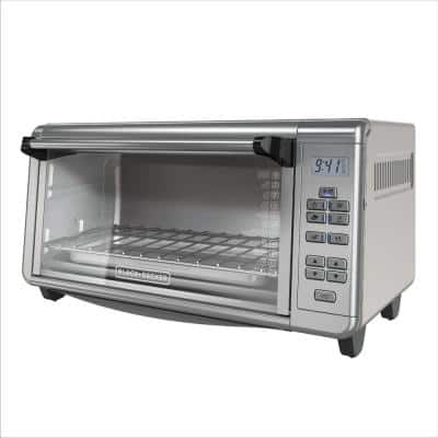 1500 W 8-Slice Black and Silver Countertop Convection Toaster Oven with Temperature Controls