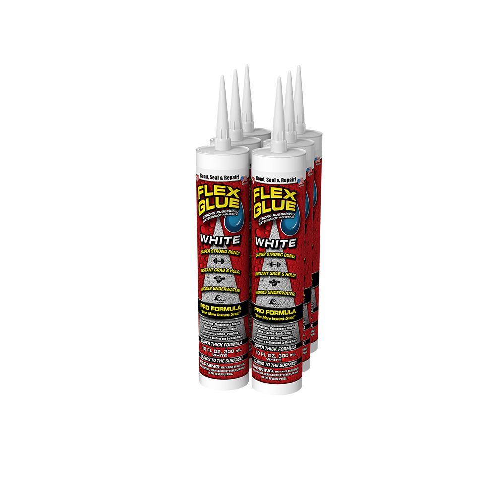Flex Glue White 10 oz. Pro-Formula Strong Rubberized Waterproof Adhesive (6-Piece)