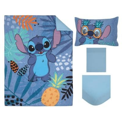 Stitch Weird But Cute 4-Piece Blue, Teal and Coral Toddler Crib Bedding Set