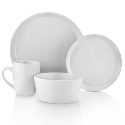 32-Piece Casual Snow White Stoneware Dinnerware Set (Set for 8)