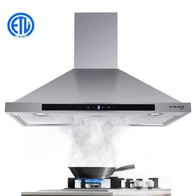 36 in. Wall Mount Range Hood in Stainless Steel with Aluminum Filters LED Lights, Touch Control