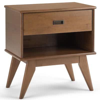 Draper 1-Drawer Solid Hardwood 24 in. Wide Mid Century Modern Bedside Nightstand Table in Medium Saddle Brown