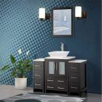 48 in. W x 18.5 in. D x 36 in. H Bathroom Vanity in Espresso with Single Basin Vanity Top in White Ceramic and Mirror