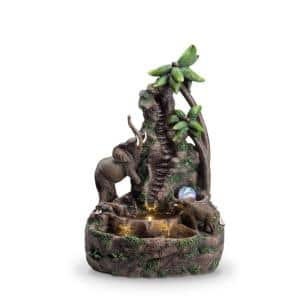 24 in. Mother And Baby Elephant Table Fountain