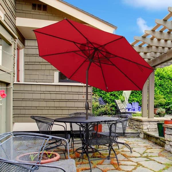 Crank Patio Umbrella 8 Ribs, Red Patio Table Umbrella