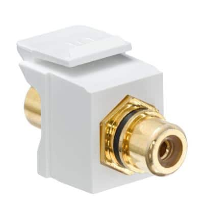 QuickPort RCA Gold-Plated Connector Black Stripe, White