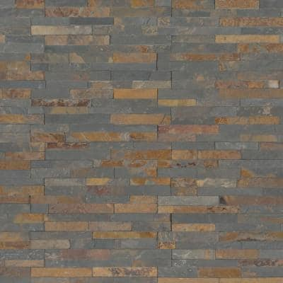 Gold Rush Mini Ledger Panel 4.5 in. x 16 in. Natural Slate Wall Tile (5 sq. ft./Case)