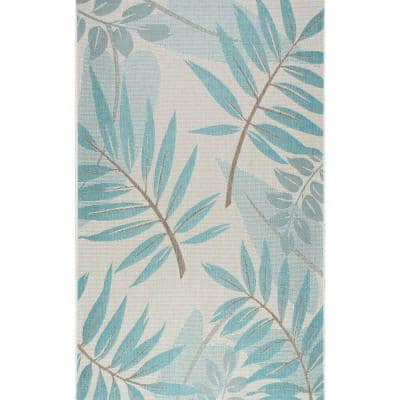 Trudy Art Deco Leaves Turquoise 5 ft. x 8 ft. Indoor/Outdoor Area Rug