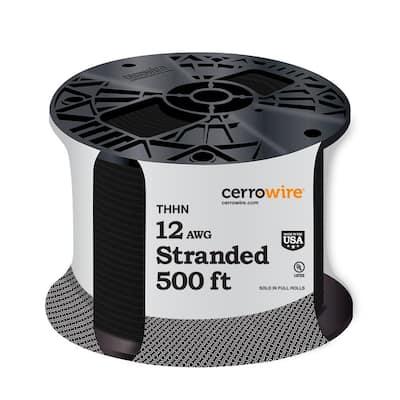 500 ft. 12/1 Black Stranded THHN Wire