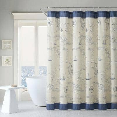Caribbean Sea Blue Cotton 72in. X 72in. Shower Curtain
