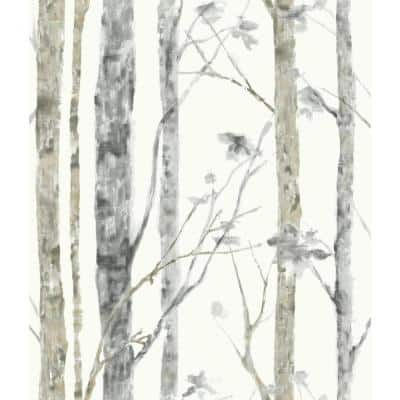 Birch Trees White And Brown Floral Vinyl Peel & Stick Wallpaper Roll (Covers 28.18 Sq. Ft.)
