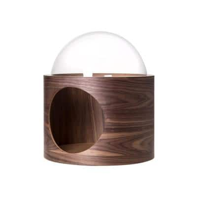 MYZOO Small Spaceship Gamma Wall Mounted Walnut Cat Bed Open on the Right