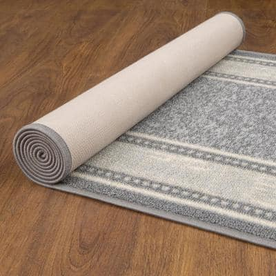 Ottohome Collection 2 ft. x 7 ft. Contemporary Bordered Gray Runner Rug with Non-Slip Rubber Back