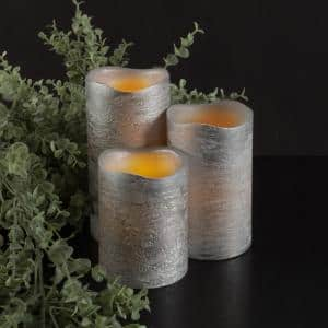 Distressed Metallic Silver Flameless Real Wax LED Candles with Remote (Set of 3)