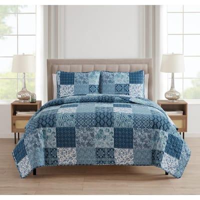 Paisley Patchwork 2-Piece Blue Microfiber Twin Quilt Set