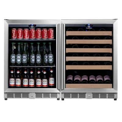 46.84 in. 46-Bottle Wine and 160-Can Beverage Cooler