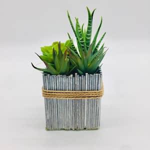 Faux succulents with square planter