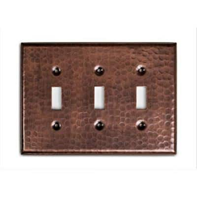 Monarch Pure Copper Hand Hammered Triple Toggle Wall Plate