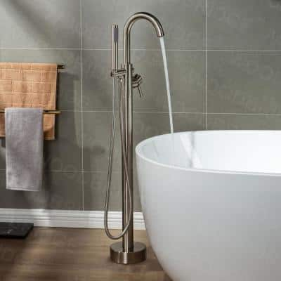 Everette Single-Handle Freestanding Tub Faucet with Hand Shower in Brushed Nickel