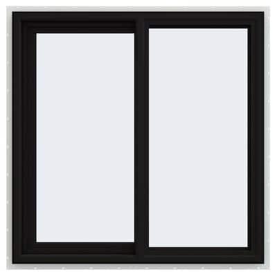 36 in. x 36 in. V-4500 Series Black FiniShield Vinyl Left-Handed Sliding Window with Fiberglass Mesh Screen
