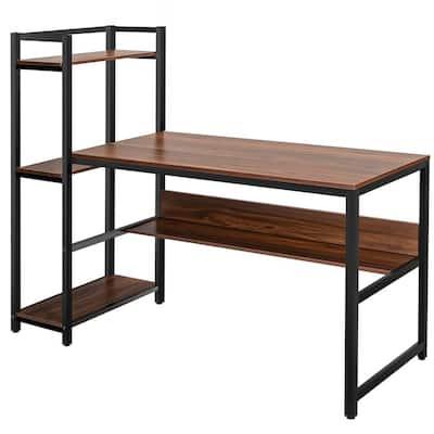 59 in. Walnut Computer Desk with 4-tier Storage shelves