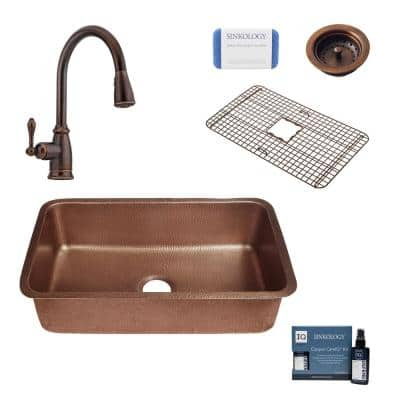 Orwell All-In-One Undermount Copper 30 in. Single Bowl Copper Kitchen Sink with Pfister Bronze Faucet and Strainer