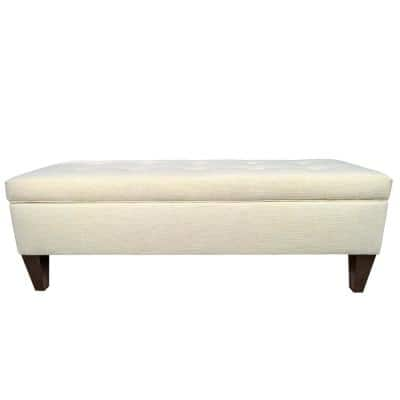 Brooke Belfast Ivory Button Tufted Upholstered Storage Bench