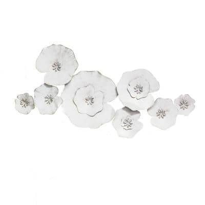 Angelic White Metal Lily Pad Wall Decor