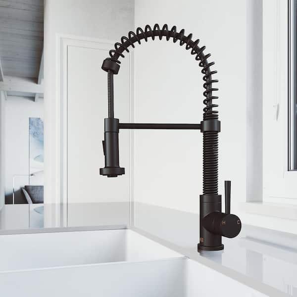 Vigo Edison Single Handle Pull Down Sprayer Kitchen Faucet In Matte Black Vg02001mb The Home Depot
