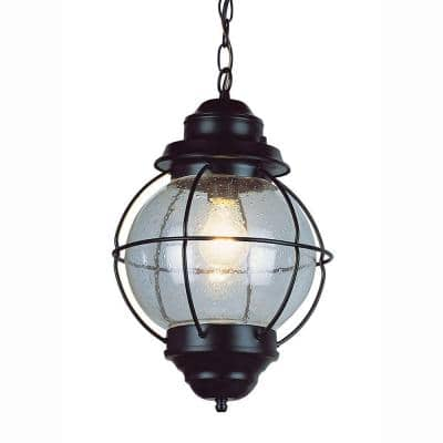 Catalina 9 in. 1-Light Black Outdoor Pendant Light with Seeded Glass