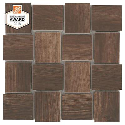 Autumn Wood Modern Weave 12 in. x 12 in. x 8 mm Glazed Porcelain Mosaic Tile (0.96 sq. ft./Each)