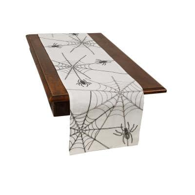0.1 in. H x 15 in. W x 70 in. D Halloween Spider Web Double Layer Table Runner in White