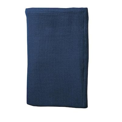 Cotton Weave True Navy Solid Woven Throw Blanket