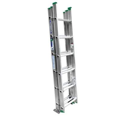 16 ft. Aluminum 3 Section Compact Extension Ladder with 225 lbs. Load Capacity Type II Duty Rating