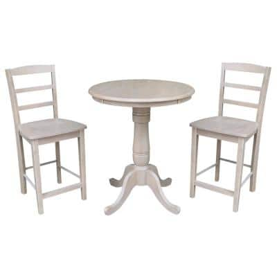3-Piece Set Weathered Taupe Gray Counter height Pedestal Table and 2 Madrid Armless Stools