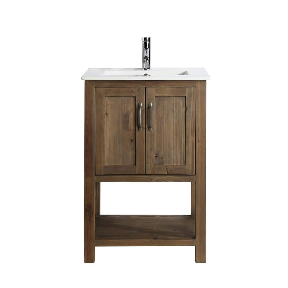 Design Element Austin 24 In W X 19 In D Bath Vanity In Natural With Porcelain Vanity Top In White With White Basin Dec4006 S The Home Depot