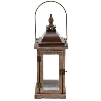 Bridle 8 in. x 12 in. Glass and Wood Lantern Terrarium
