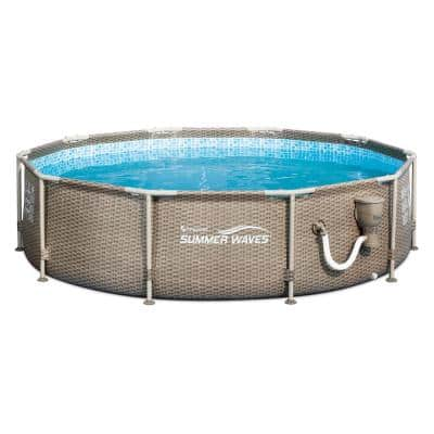 Tan Exterior Wicker Print 10 ft. Round 32 in. Metal Frame Pool