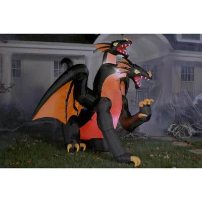 7.5 ft. Fire and Ice Two-Headed Dragon Halloween Inflatable with Animated Projection