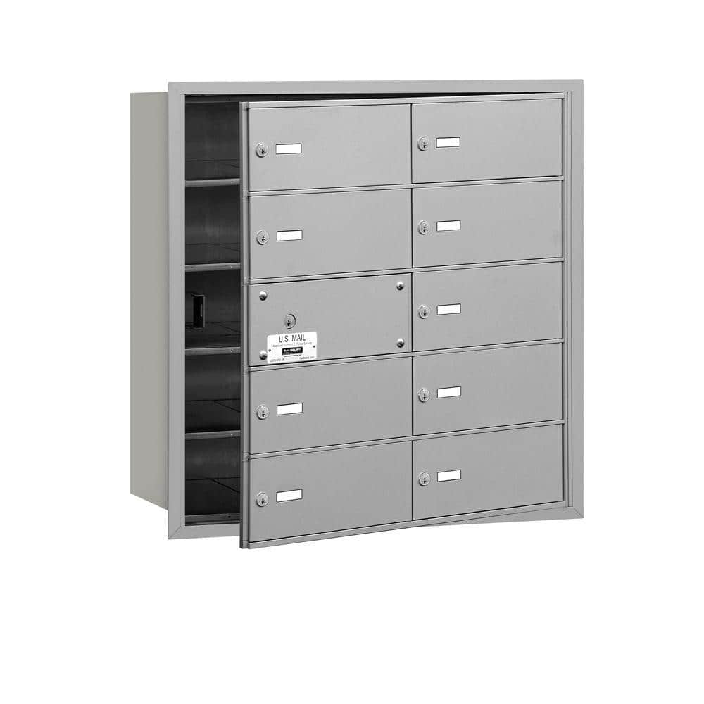Reviews For Salsbury Industries Aluminum Usps Access Front Loading 4b Plus Horizontal Mailbox With 10b Doors 9 Usable 3610afu The Home Depot