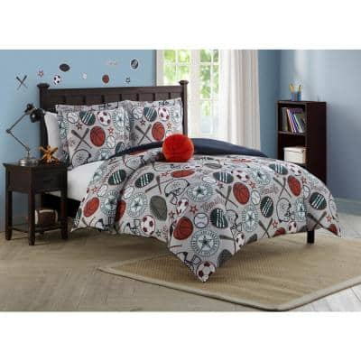 League Sports 3-Piece Light Gray Twin Comforter Set
