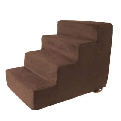 Brown High Density Foam Pet Stairs - 4 Steps with Machine Washable Furniture Cover and Nonslip Bottom