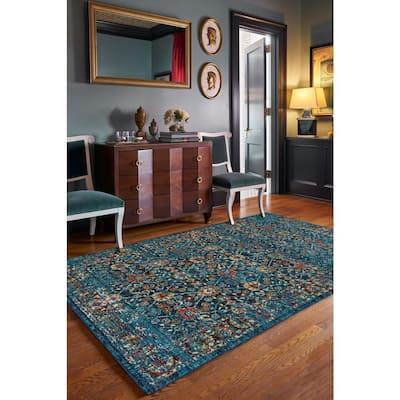 Benz-Kayseri Dark Blue 8 ft. x 10 ft. Rectangle Machine Woven Area Rug