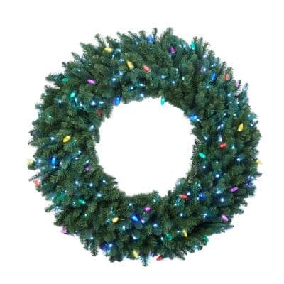 Sugarplum Knoll 48 in. LED Pre-Lit Artificial Christmas Wreath with Micro-Style Pure White and C7 Multi-Color Lights