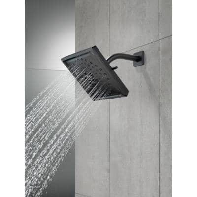 3-Spray 7.6 in. Single Wall Mount Fixed Rain H2Okinetic Shower Head in Matte Black