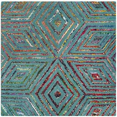 Nantucket Blue 4 ft. x 4 ft. Square Geometric Area Rug