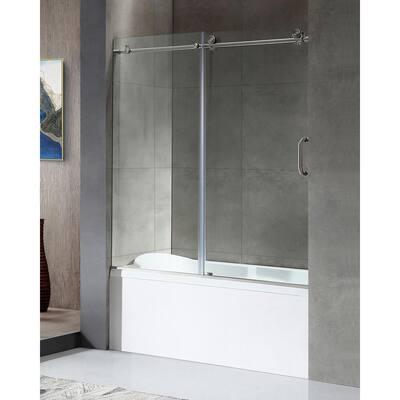 Raymore 60 in. x 62 in. Frameless Sliding Bathtub Door in Brushed Nickel