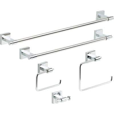 Maxted 5-Piece Bath Hardware Towel Bar Accessory Set in Polished Chrome